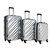 Swiss Case Wave 4-Wheel 3Pc Abs Suitcase Set, Silver