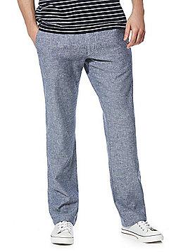 F&F Linen Blend Straight Leg Trousers - Light blue