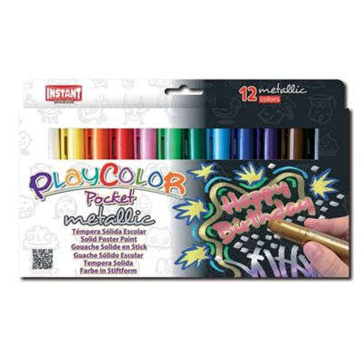 Playcolor Metallic Pocket 5g Solid Poster Paint Stick (Pack of 12 - Assorted Colours)