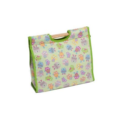 Hobby Gift Small Playful Owls on Green Background Sewing Bag