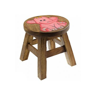 Apollo Kids Wooden Animal Stool, Elephant Design, Easy to Clean, 26cm (Brown)