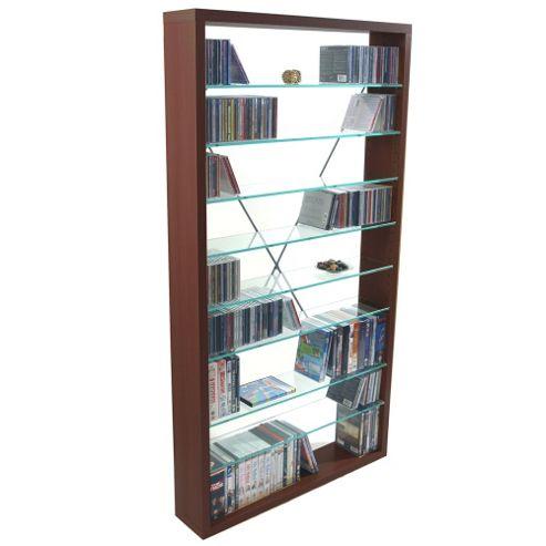 CD / DVD / Blu-ray / Media Glass Storage Shelves - Dark Oak