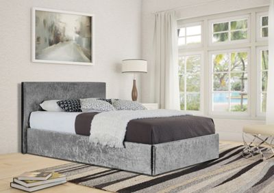 Comfy Living 4ft6 Double Crushed Velvet Ottoman Storage Bed Frame in Silver with Damask Memory Mattress