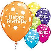 Happy Birthday Big Polka Dots 11 inch Latex Balloons - 25 Pack