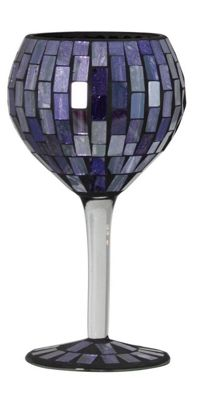 Purple Tile Mosaic Small Goblet Decoration Glass Stem
