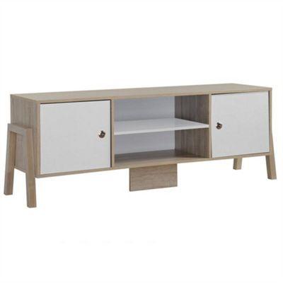 Modern Designer TV & Media Storage Unit - Oak & White