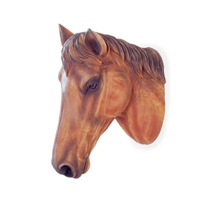 Wall Mountable Realistic Brown Horse Head Garden Feature Ornament