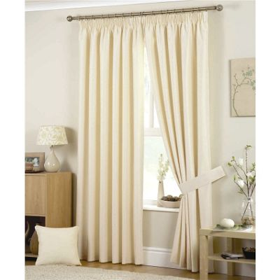 Curtina Hudson Natural Pencil Pleat Lined Curtains - 46x72 inches (117x183cm)