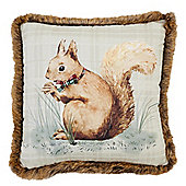 Tesco Squirrel Cushion with Faux Fur Trim