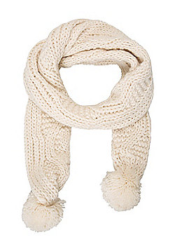 Mountain Warehouse Niki Pom Pom Womens Knitted Scarf - Cream