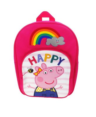 Peppa Pig 'Be Happy' Arch Pocket School Bag Rucksack Backpack