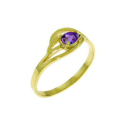 QP Jewellers 0.30ct Amethyst Pear Strand Ring in 14K Gold - Size A