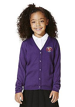 Unisex Embroidered Wool Blend Cardigan - Purple