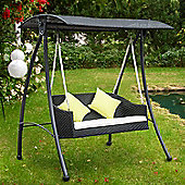 Outsunny Black 3 Seater Garden Rattan Swing Chair