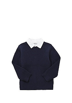 F&F Mock Shirt Layer Jumper - Navy