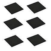 Square Glass Drinks Coasters - Black - Pack of 6