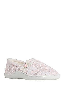 F&F Textured Closed Back Slippers - Pink