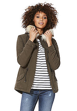 Only Faux Fur Trim Short Parka - Khaki