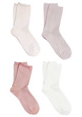 F&F 4 Pair Pack of Textured Ankle Socks Pink M-L