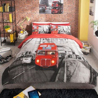 Modern London Red Bus Double Duvet Cover Set