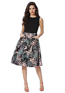 Izabel London Floral Bird Print Skirt Dress - Black