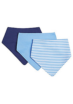 F&F 3 Pack of Dribble Bibs - Blue