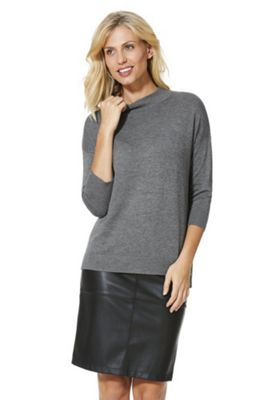 F&F Ribbed Polo Neck Jumper with As New Technology Grey 16