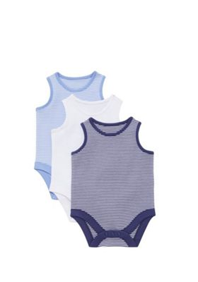 F&F 3 Pack of Plain and Striped Sleeveless Bodysuits Blue/White 9-12 months