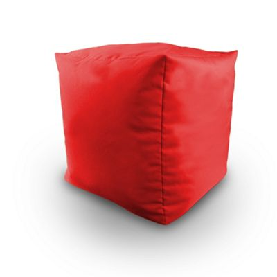 Red Indoor Outdoor Bean Bag BBQ Cube Beanbag Seat Pouffe Foot Stool Water Resistant