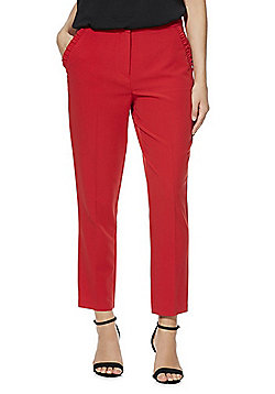 F&F Ruffle Pocket Slim Fit Trousers - Red