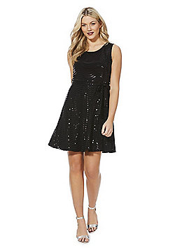 Mela London Sequin Effect Skater Dress - Black