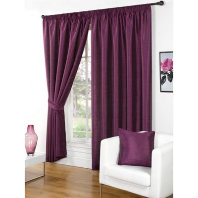 Hamilton McBride Faux Silk Pencil Pleat Aubergine Curtains - 46x54 Inches (117x137cm) Includes Tiebacks
