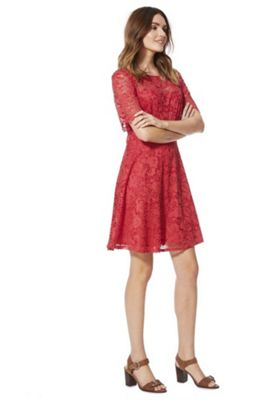 F&F Lace A-Line Dress Raspberry 12