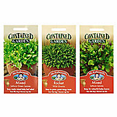 Mr Fothergill's Seeds - Grow Your Own Container Salad Leaf Collection - 3pc Multipack
