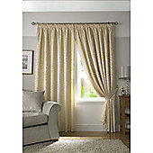 Tivoli Jacquard Leaf Pencil Pleat Lined Curtains - Cream