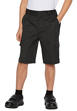 F&F School 2 Pack of Boys Stain Resistant Combat Shorts - Dark grey