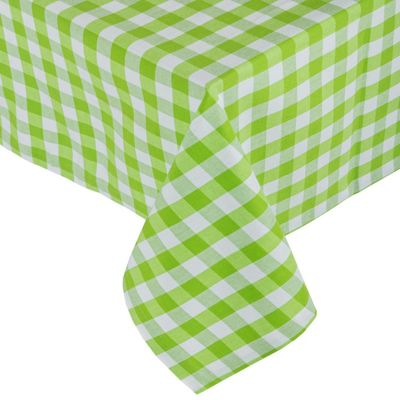 Homescapes Green Block Check Tablecloth, 54 x 70 Inches