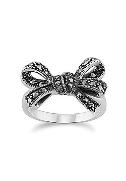 Gemondo 925 Sterling Silver 0.32ct Marcasite Set Ribbon Ring