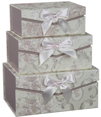 Set of 3 Pink Blossom Bow Storage Boxes