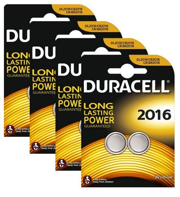 8 x Duracell CR2016 3v Lithium Coin Cell Button Battery 2016 DL2016 BR2016