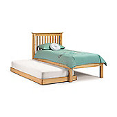 Happy Beds Barcelona Antique Solid Pine Wooden Guest Bed and Trundle 2 Spring Mattresses 3ft Single
