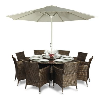 savannah 8 seat round dining table and chairs rattan garden furniture set - Rattan Garden Furniture Tesco