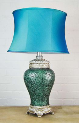 Large New Blue Mosaic Design Lamp With Blue Oval Shade 2Ft6 X 1Ft6 (76Cm X45cm)