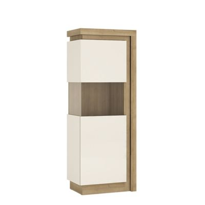 Lyon Narrow display cabinet (LHD) 164,1cm high (including LED lighting) in Riviera Oak/White high gloss