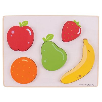 Bigjigs Toys Wooden Chunky Lift and See Puzzle - Fruit