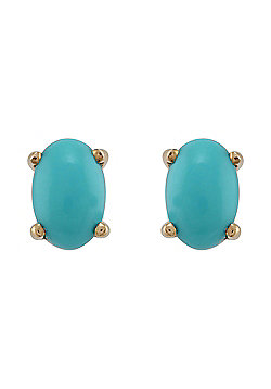 Gemondo 9ct Yellow Gold 1.00ct 4 Claw Set Natural Turquoise Oval Stud Earrings