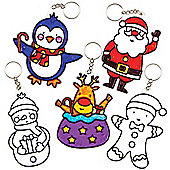 Christmas Suncatcher Keyrings &Bag Danglers for Children to Decorate and Wear (Pack of 5)