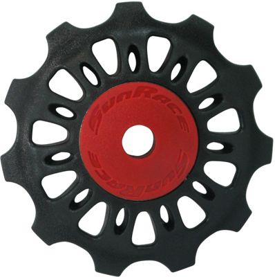 Sunrace 11T Plastic Jockey Wheel. Black With Red Dust Caps