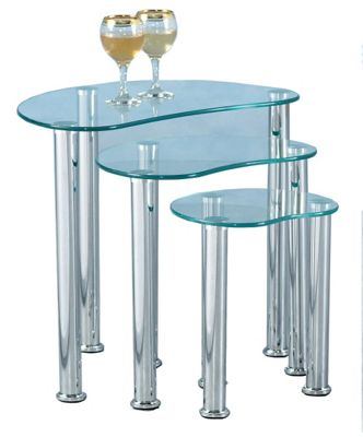 Cara Clear Glass and Chrome Nest of Tables