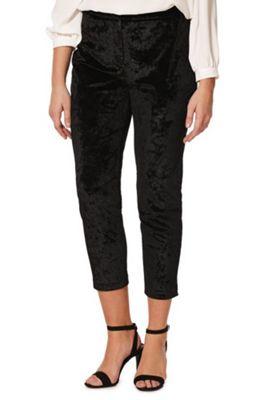 F&F Crushed Velour Slim Leg Trousers 22 Black